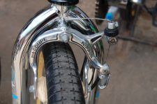 Close up of a front brake on bike