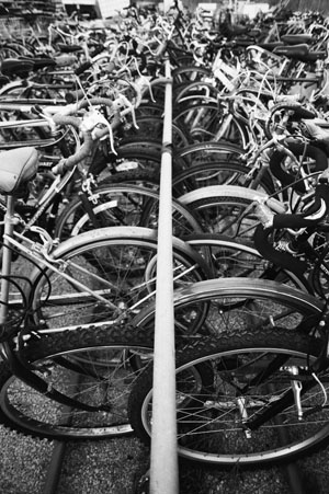 Bikes awaiting repair at Yellow Bike. Photo by Blake Gordon