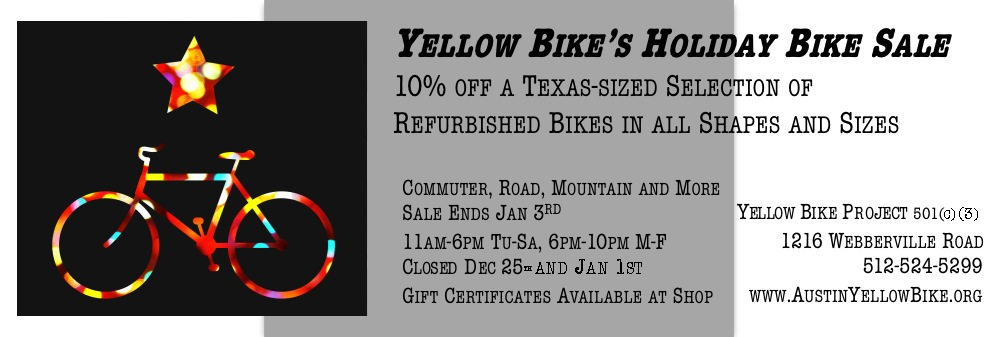 Yellow Bike's Holiday Bike Sale!